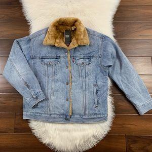 Levis Oversized Faux Fur Denim Trucker Jean Jacket